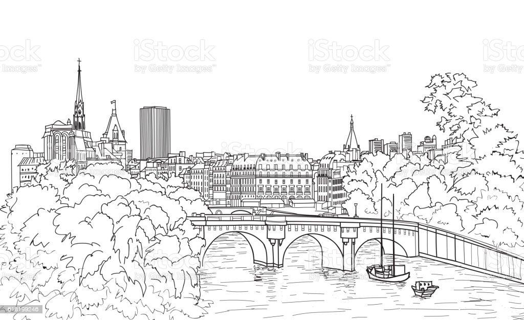 Riverside street view in old city. Paris cityscape view: river, bridge vector art illustration