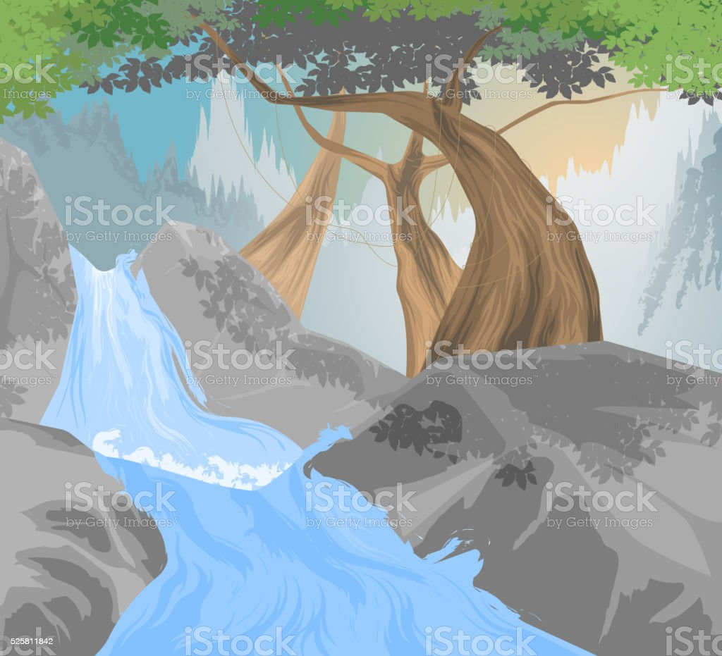 River,waterfall scene vector art illustration