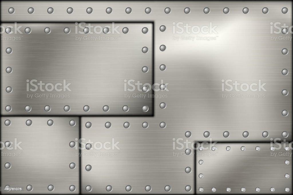 riveted steel rivets and screws metal vector art illustration