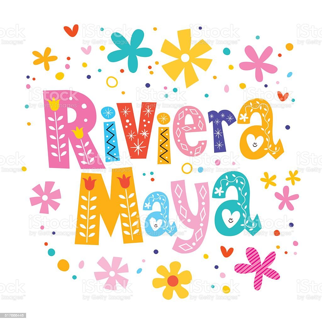 Riviera Maya, Mexico vector lettering decorative type vector art illustration