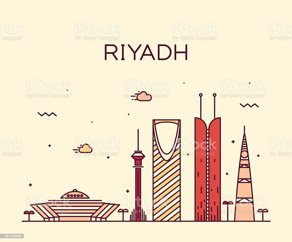 Riyadh skyline trendy vector illustration linear vector art illustration
