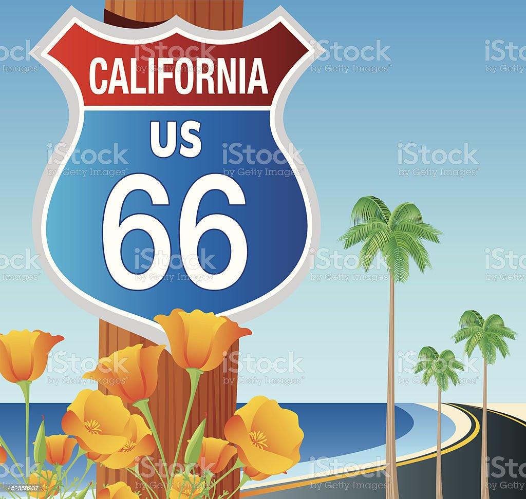 Road 66 and Beach vector art illustration