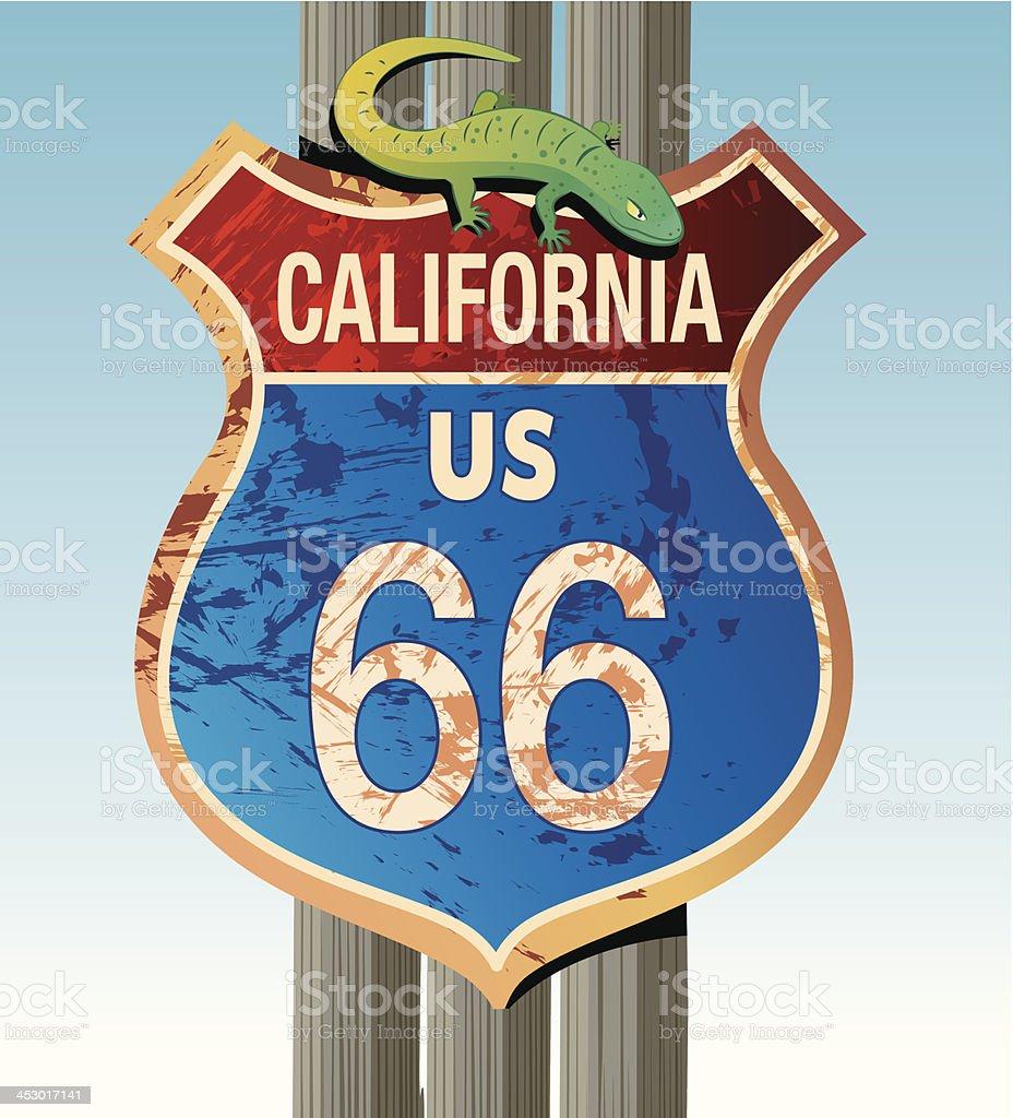 Road 66 and lizards vector art illustration