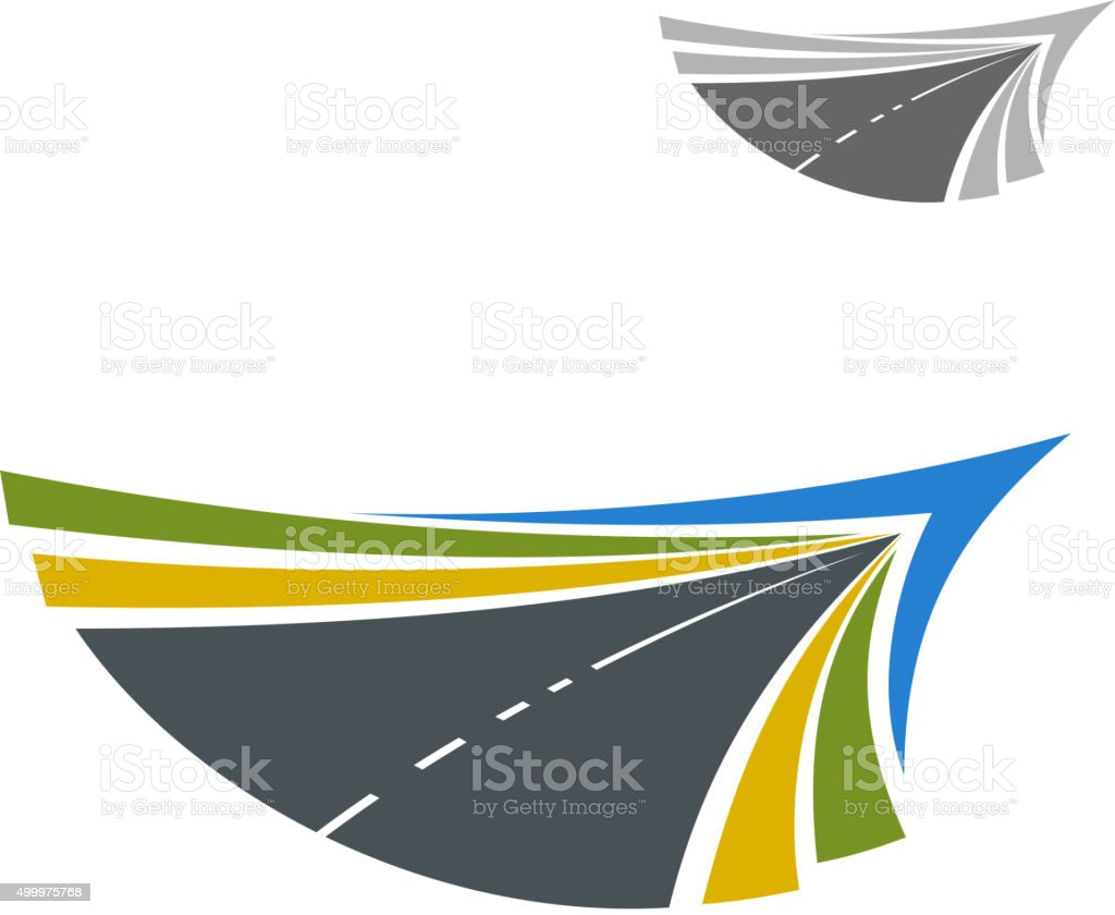 Road abstract icon with flowing lines vector art illustration