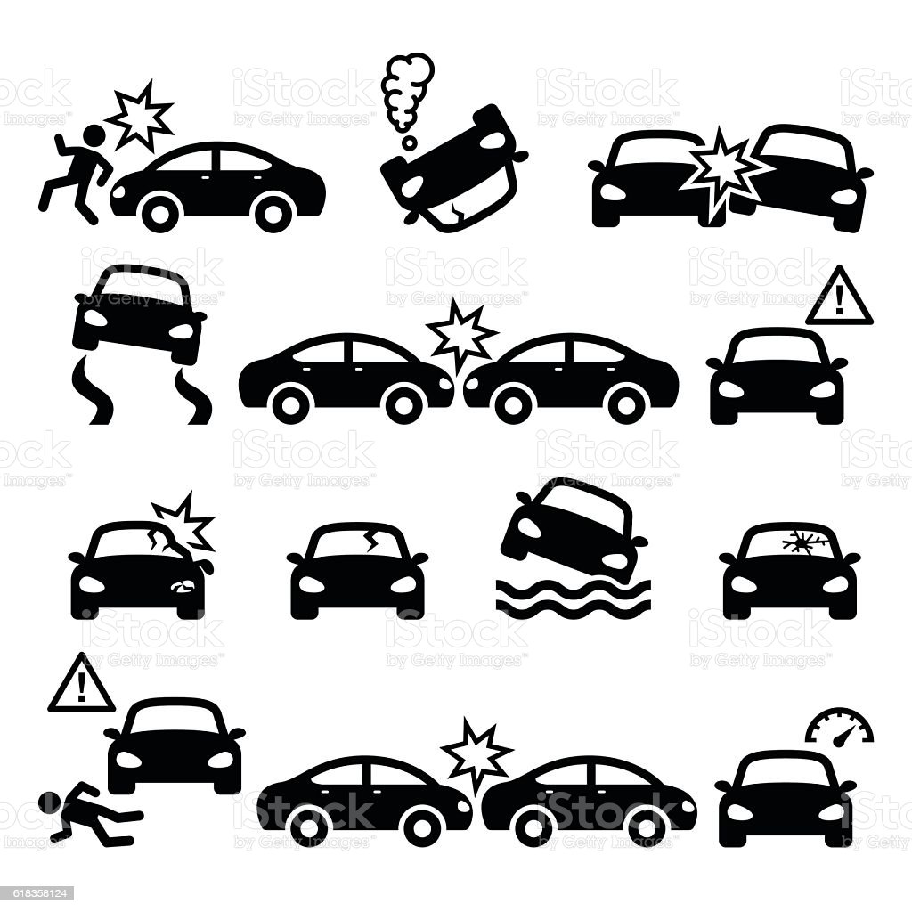 Road accident, car crash, personal injury vector icons set vector art illustration