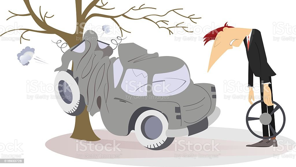 Road accident vector art illustration
