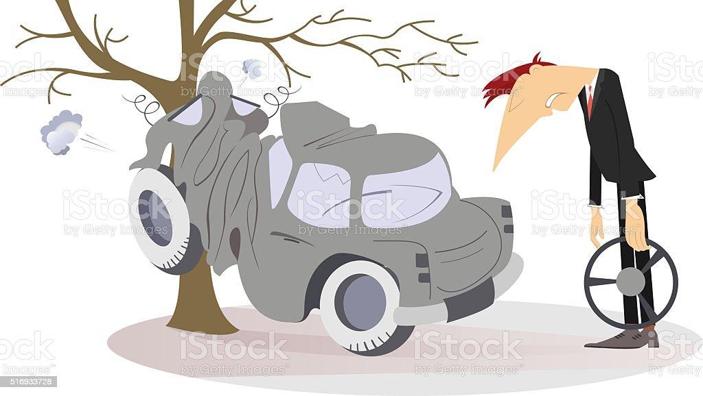 Road accident vector art illustration