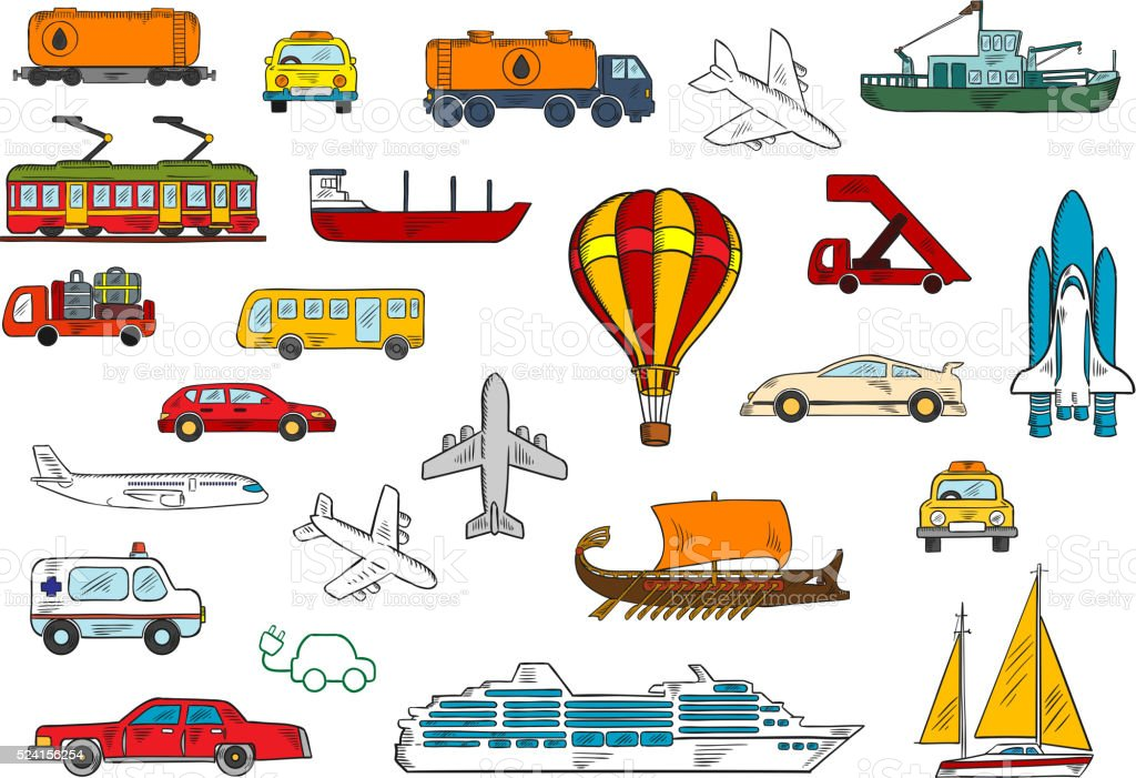Colored sketches of various modes of transportation with cars and...