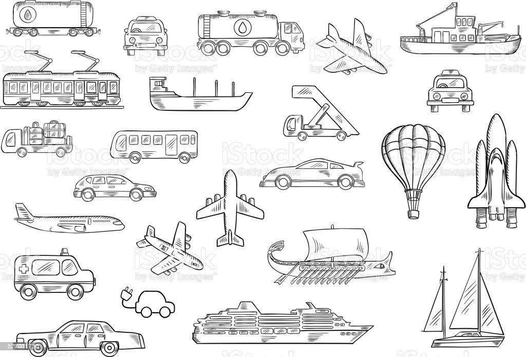 Road, air, water and railroad transport sketches vector art illustration