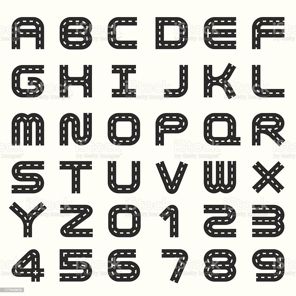 road alphabet set royalty-free stock vector art