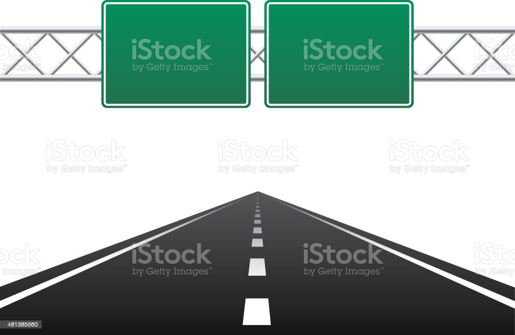 Road and blank road sign vector art illustration