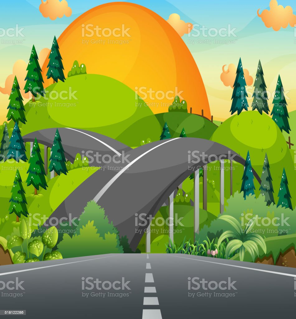 Road and bridge over the mountains vector art illustration