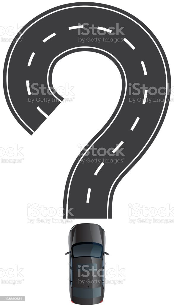 Road and car are question mark vector art illustration