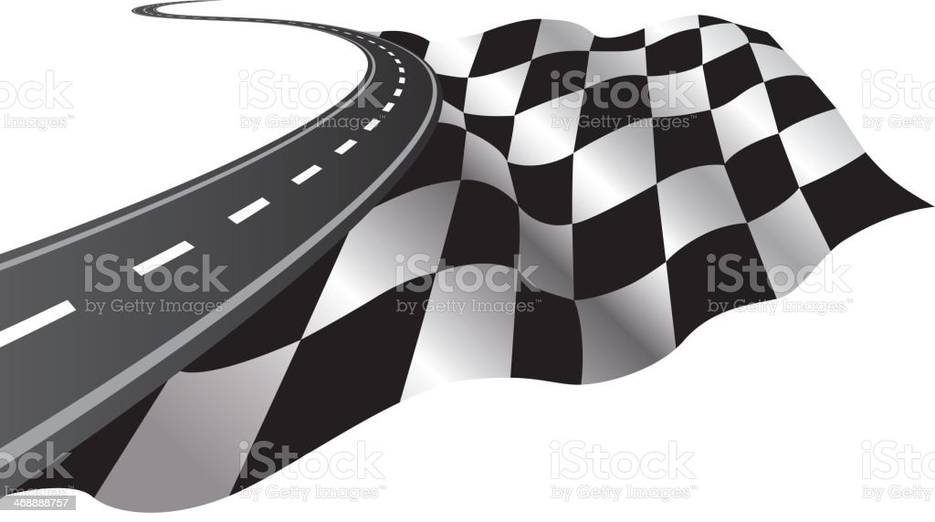 Road and Checkered Flag vector art illustration