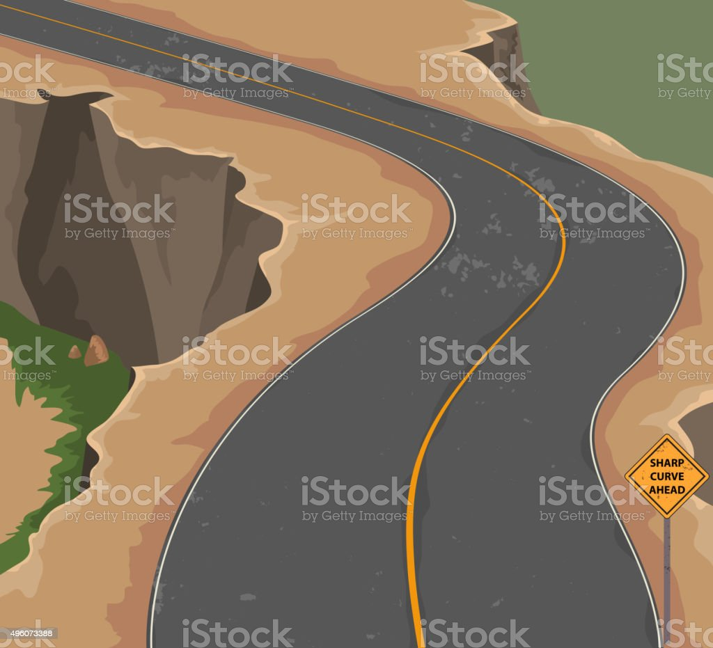 Road and cliff vector art illustration