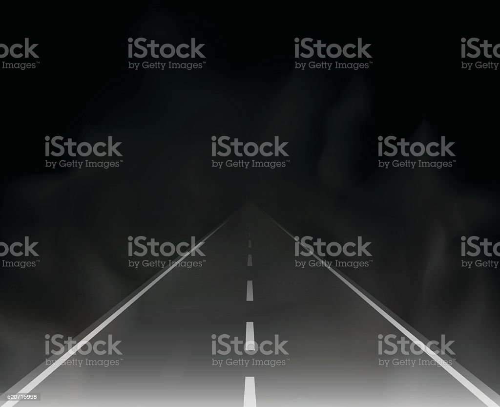 road and fog in the night vector illustration vector art illustration