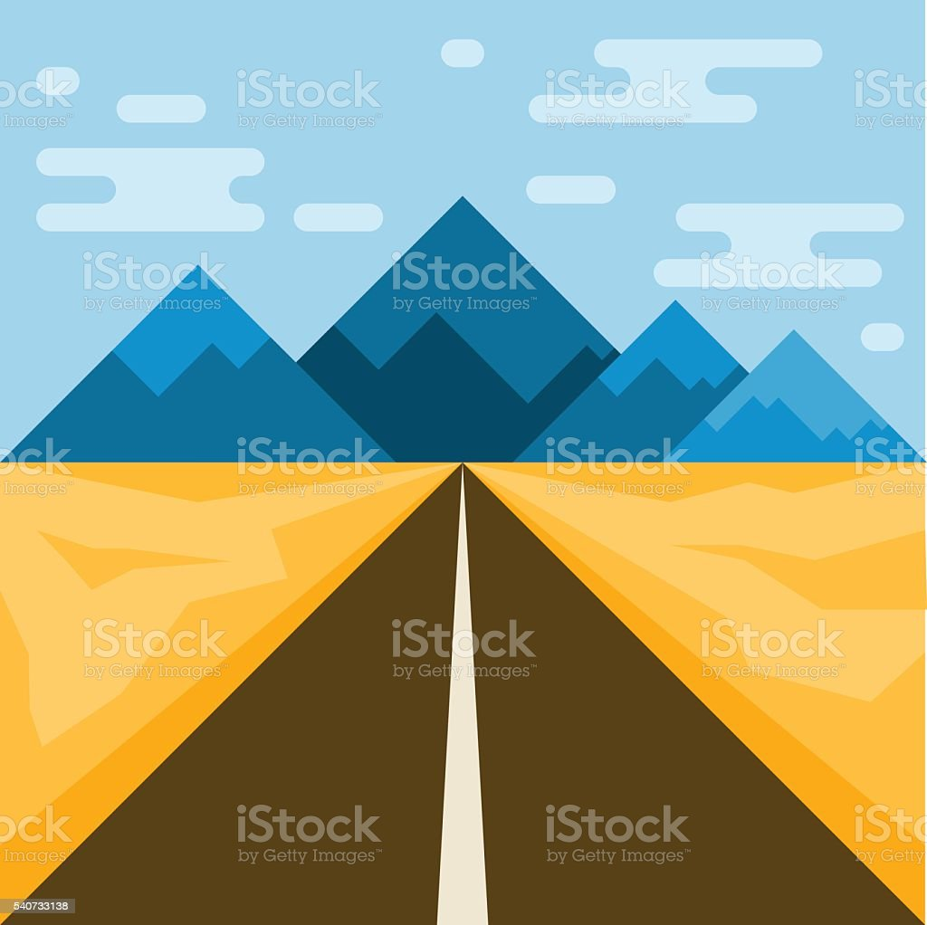 Road and mountains. Abstract illustration. Flat style. vector art illustration