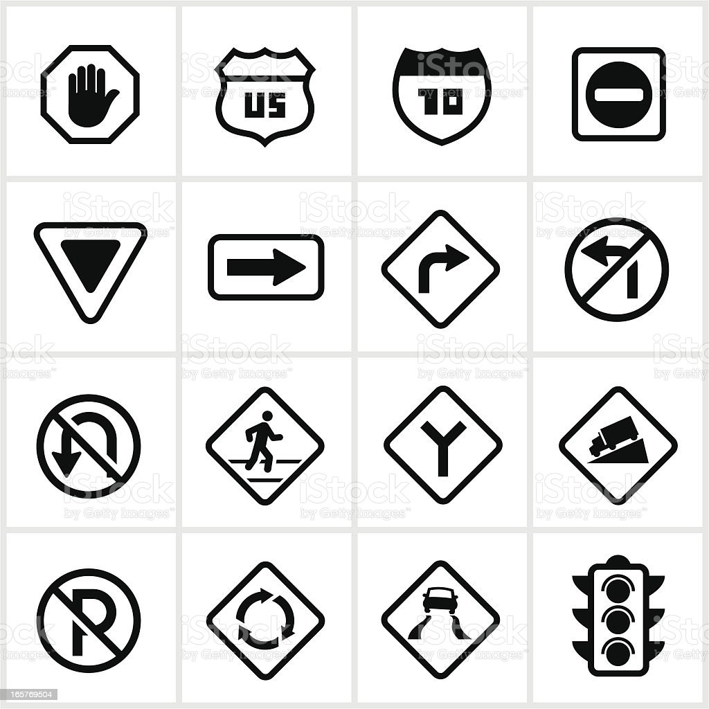 Road and Pedestrian Signs vector art illustration