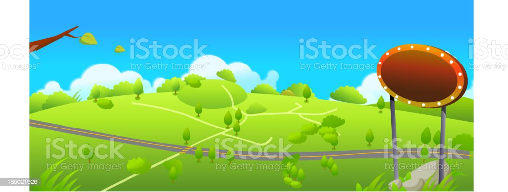 Road and small path over green landscape royalty-free stock vector art