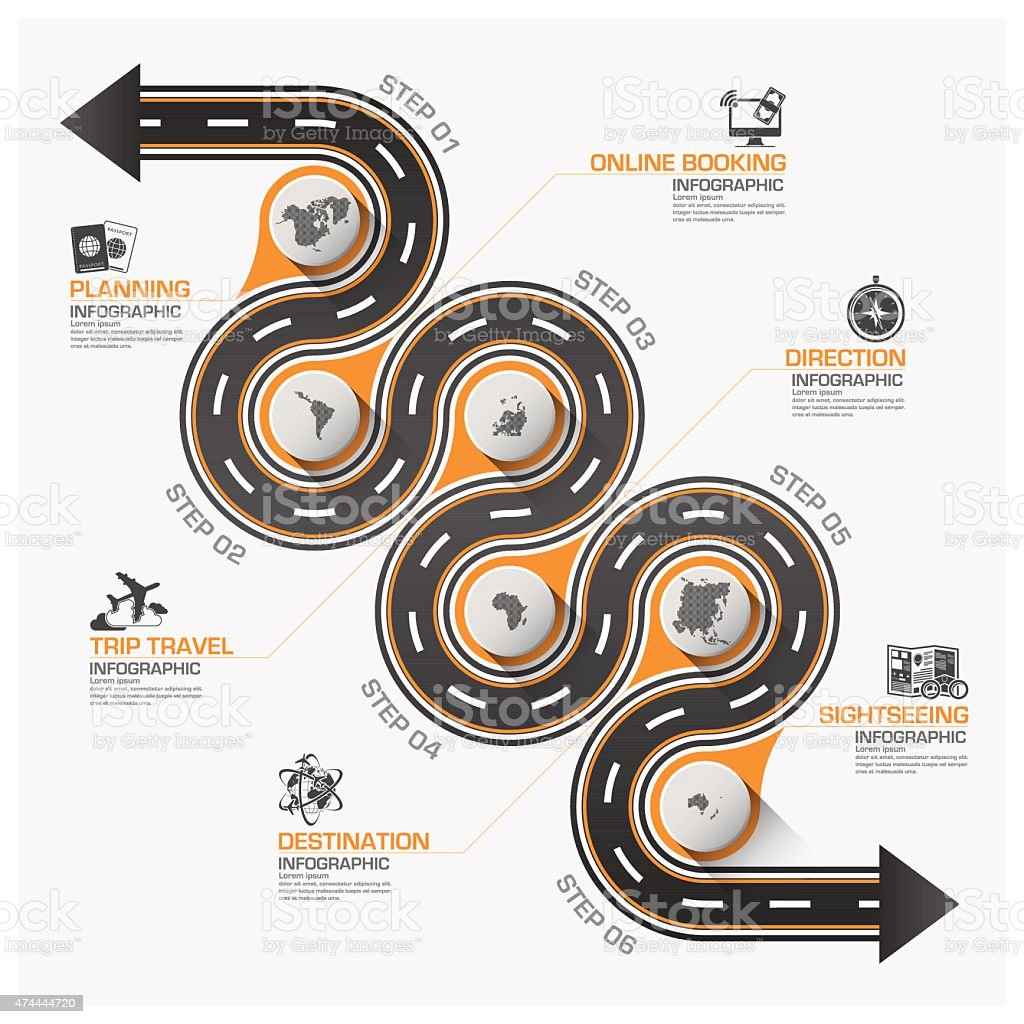 Road And Street Business Travel Curve Route Infographic Diagram vector art illustration