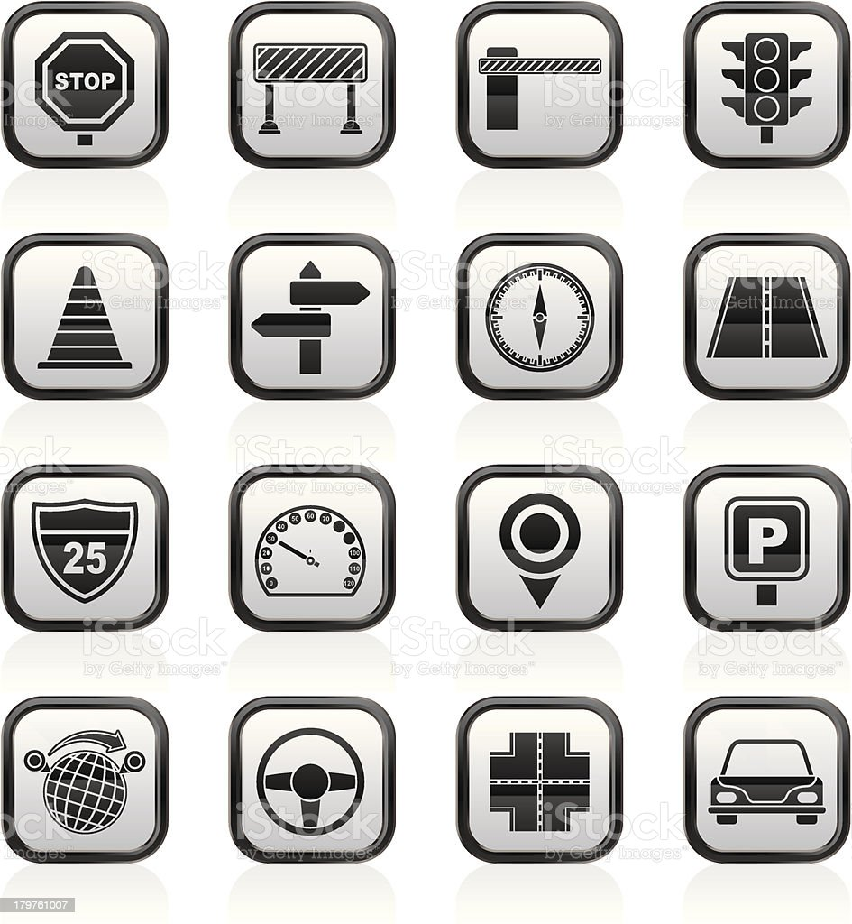 Road and Traffic Icons royalty-free stock vector art