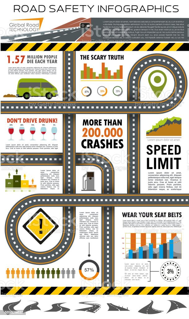 Road and traffic safety infographic design vector art illustration