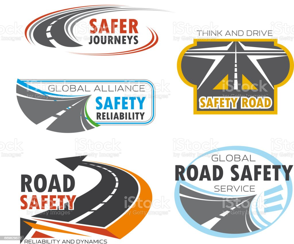Road and traffic safety service symbol set design vector art illustration