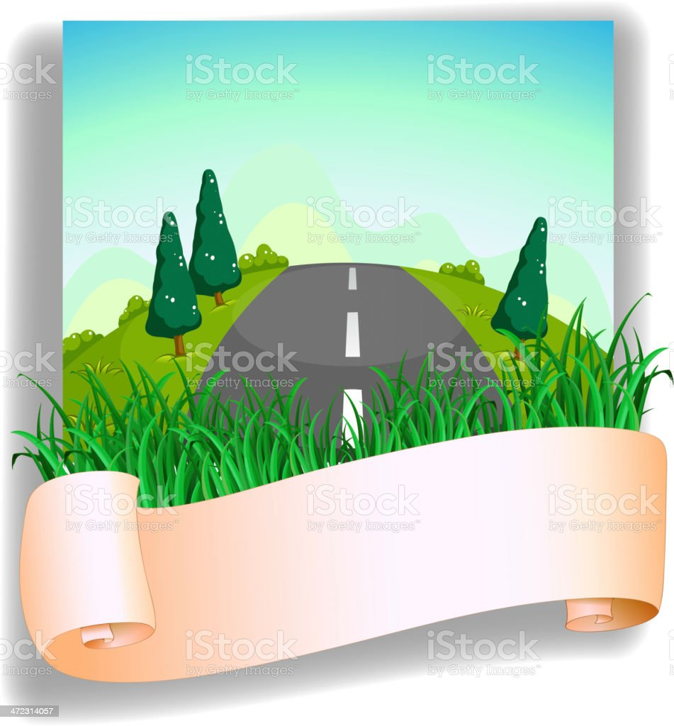 Road at the back of signage royalty-free stock vector art