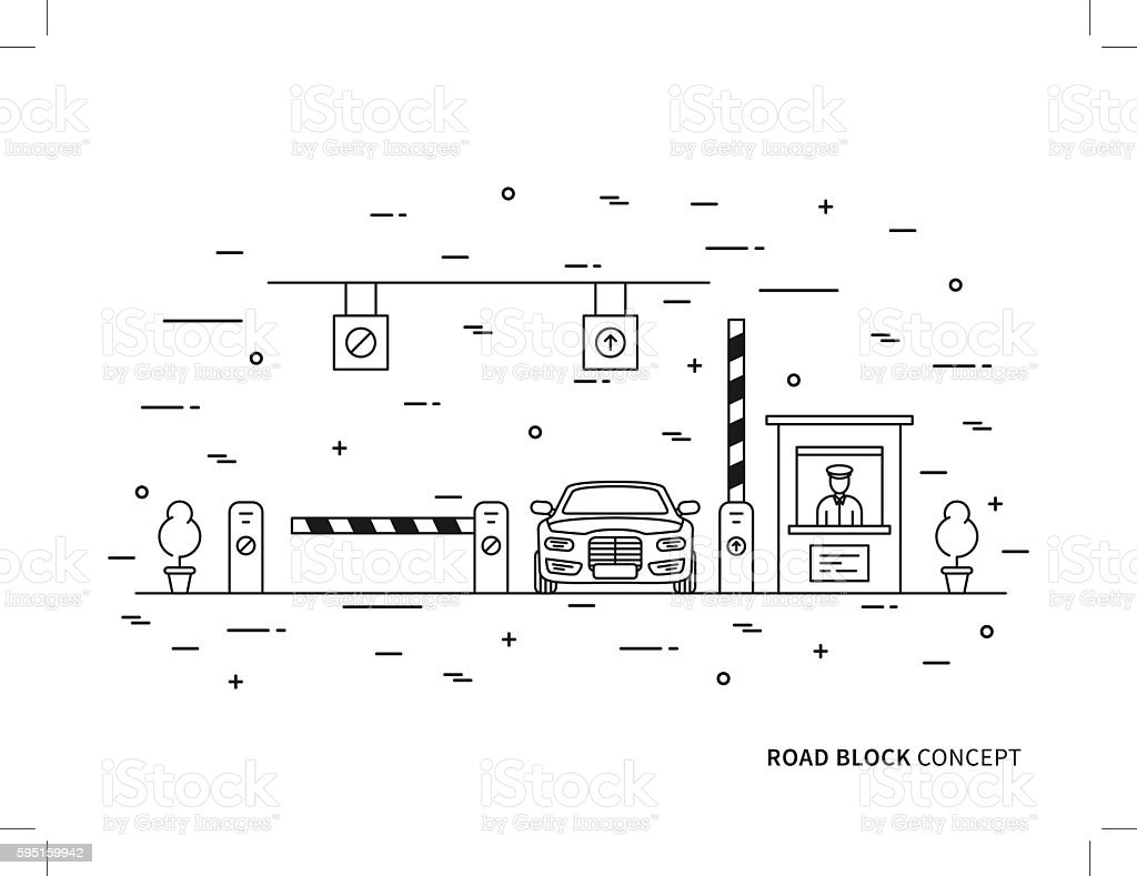 Road barrier stop gate creative graphic concept vector art illustration