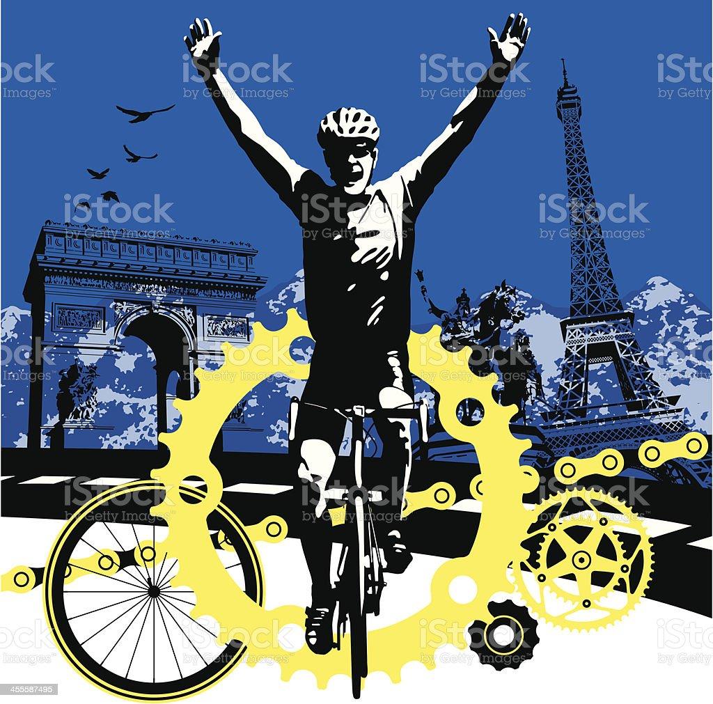Road Bike Cyclist Winning the Race in Paris France vector art illustration