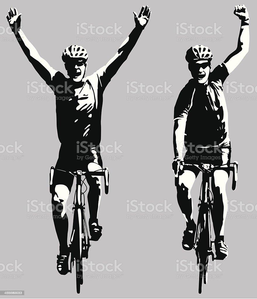 Road bike cyclists winning the race vector art illustration
