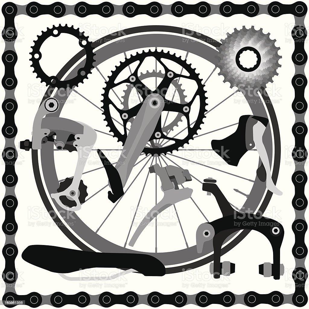 Road Bike Parts royalty-free stock vector art