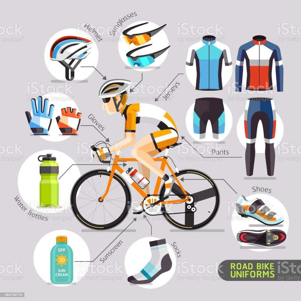 Road Bike Uniforms. vector art illustration
