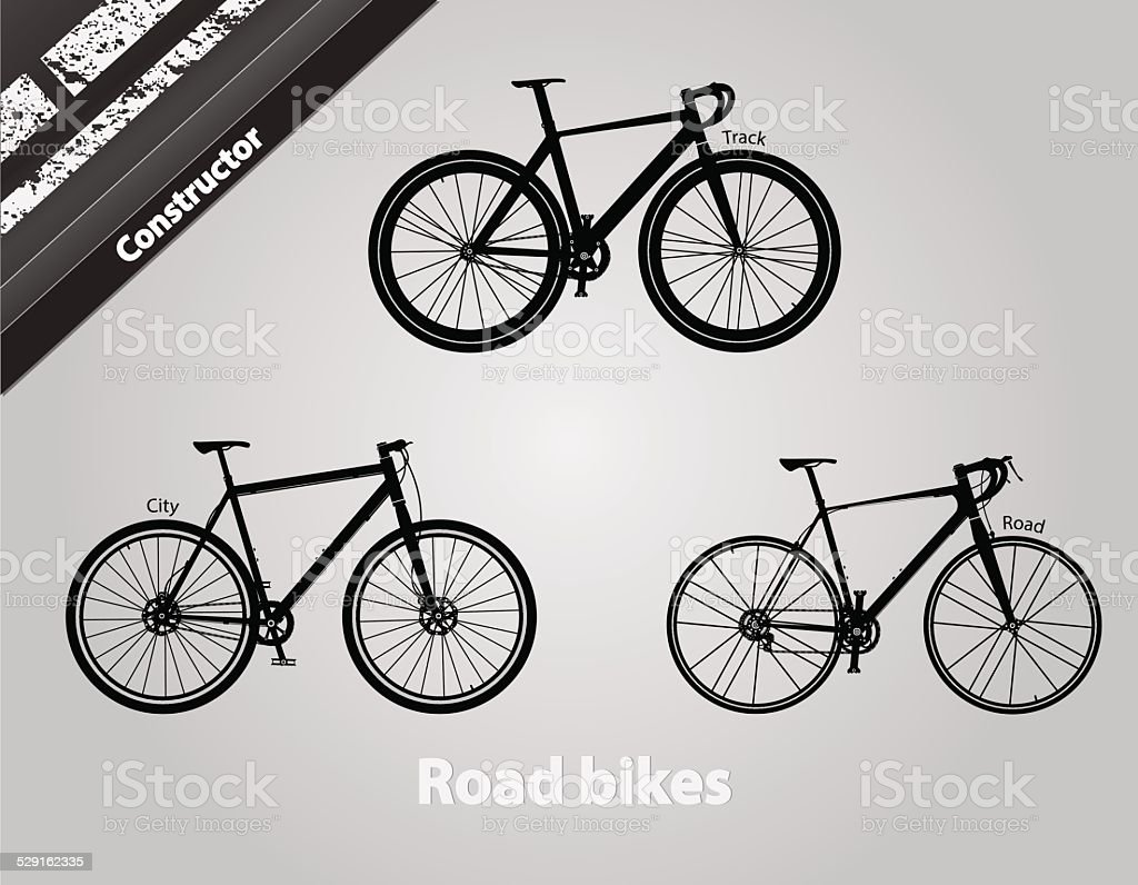 Road bikes. vector art illustration