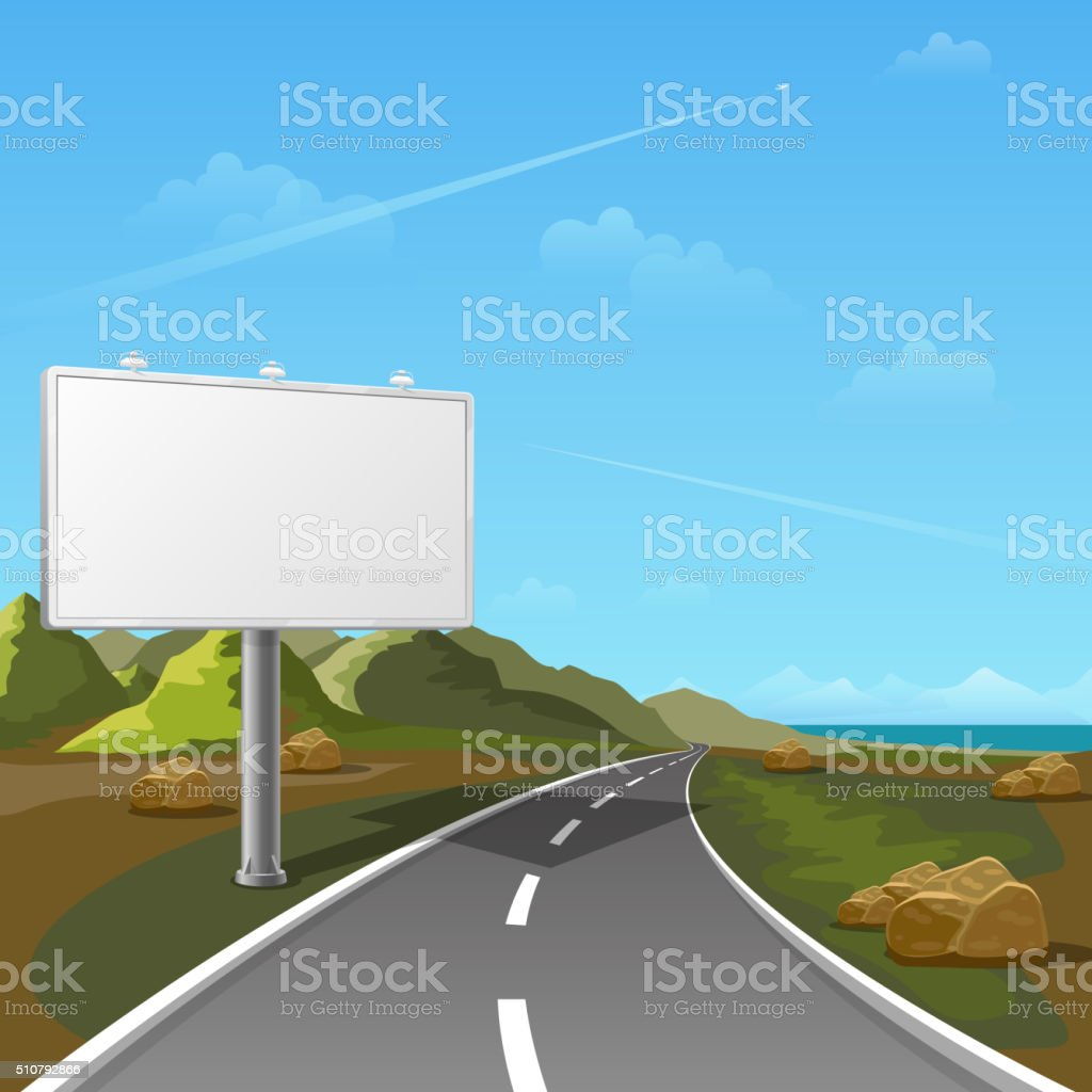 Road billboard with landscape background vector art illustration