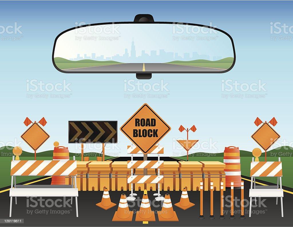 Road Block vector art illustration