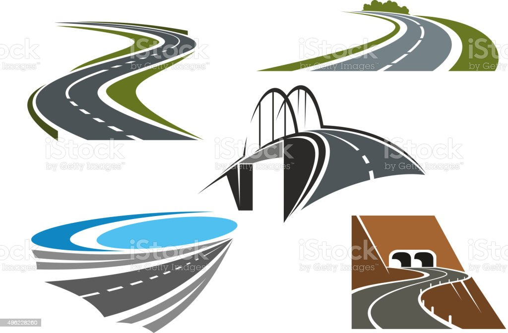 Road bridge, rural highways and road tunnels vector art illustration
