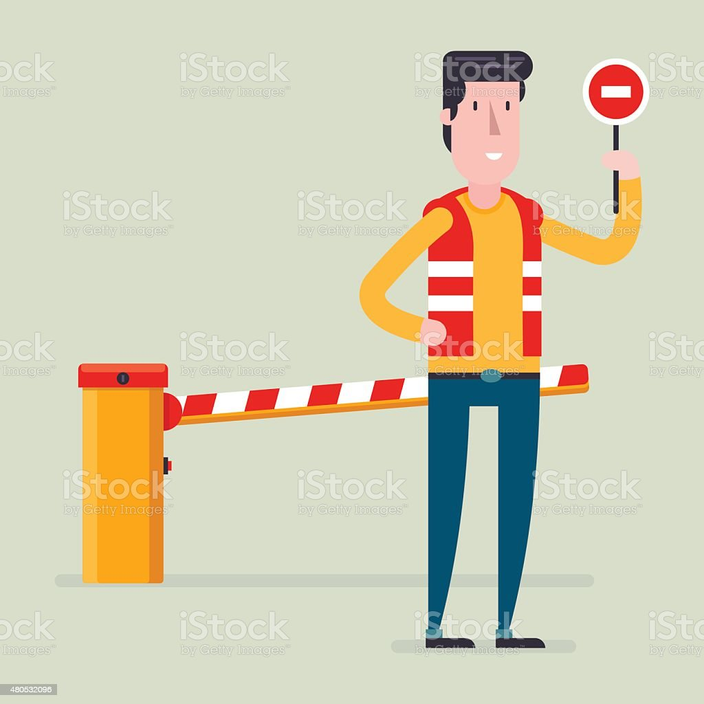 Road classical  barrier sign with the worker vector art illustration