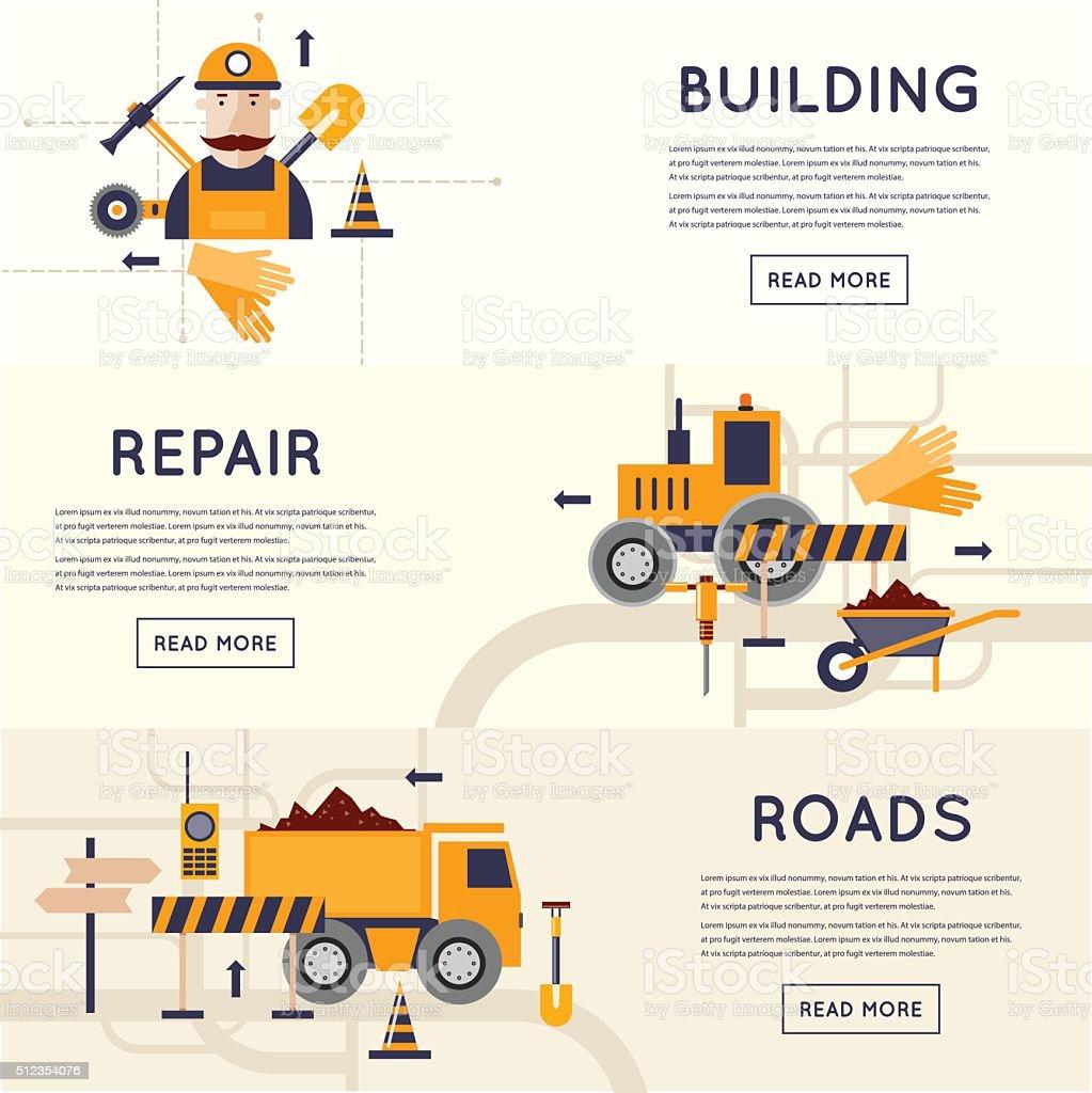 Road construction equipment. vector art illustration
