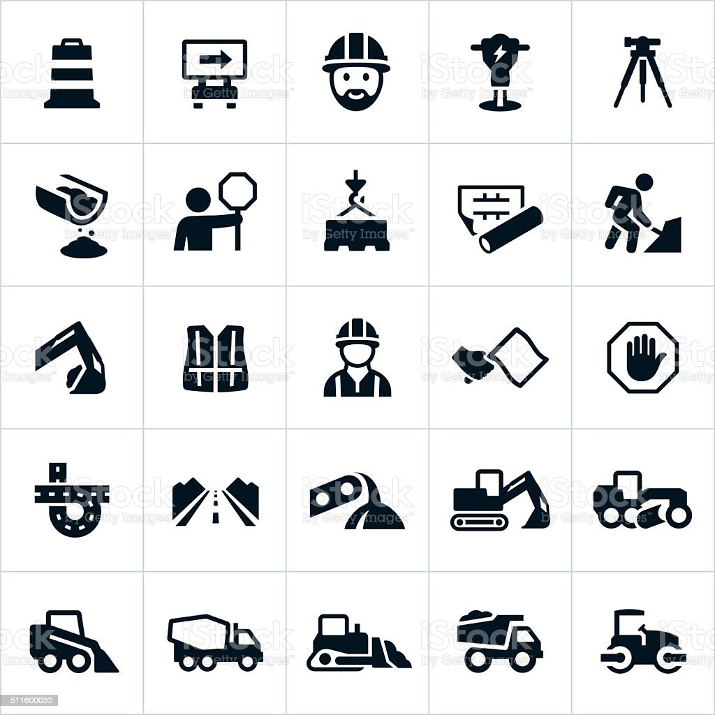 Road Construction Icons vector art illustration