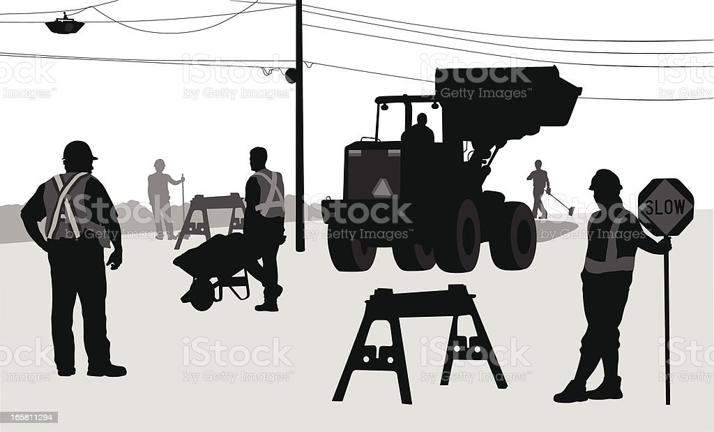 Road Construction Vector Silhouette royalty-free stock vector art