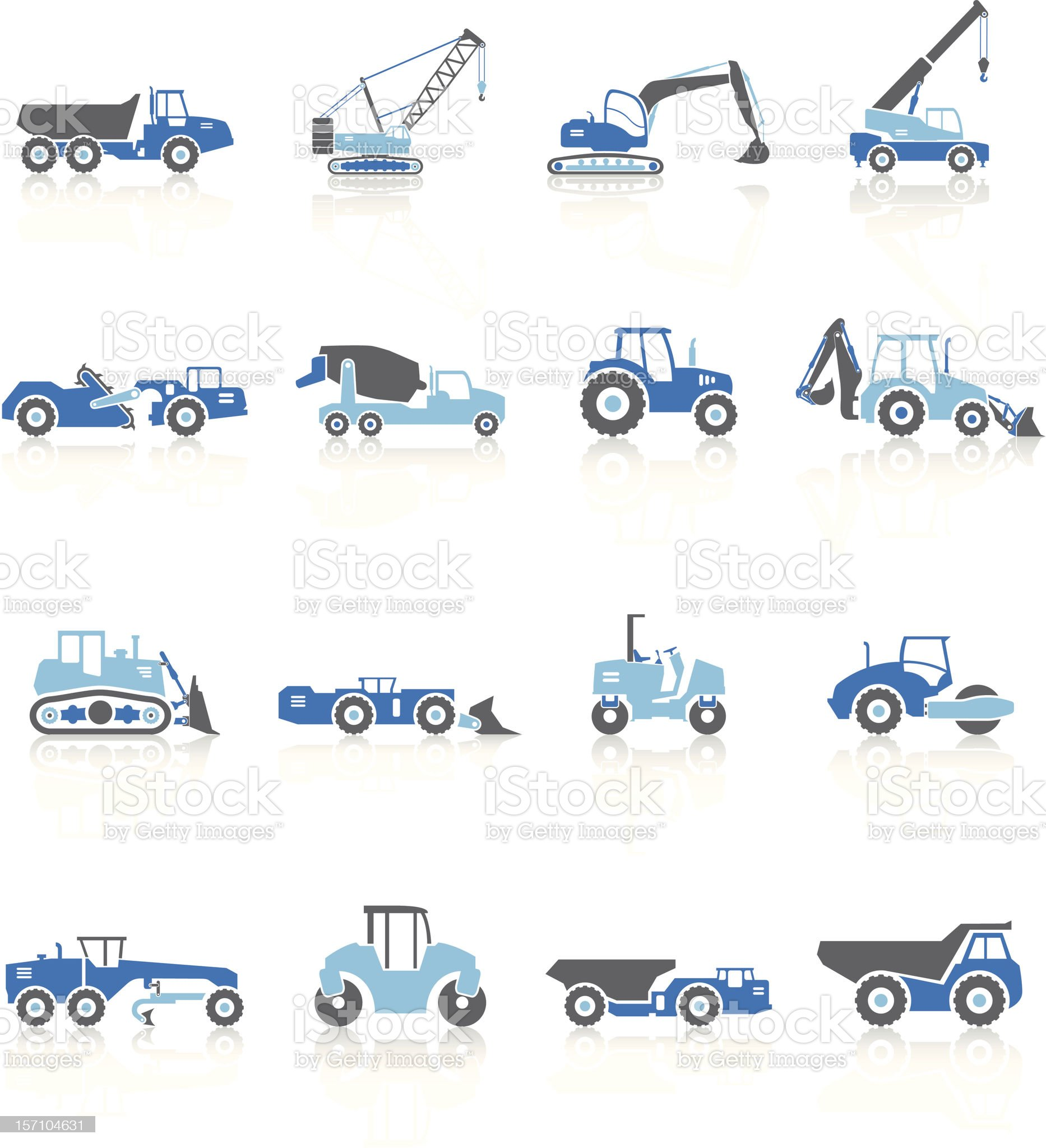 Road Construction Vehicles - Blue Series royalty-free stock vector art
