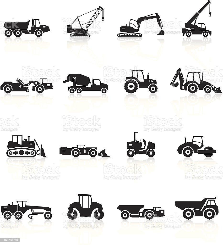 Road Construction Vehicles Silhouette - Black Series royalty-free stock vector art