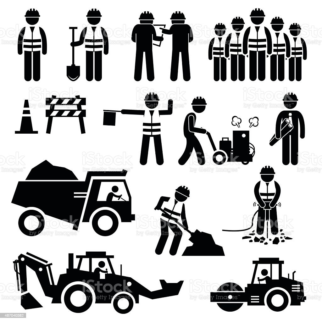 Road Construction Worker Stick Figure Pictogram Icons vector art illustration