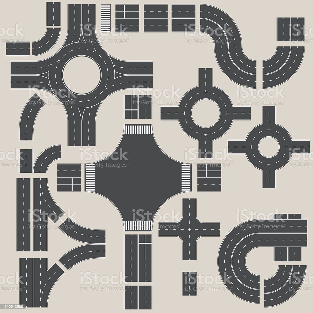 Road elements constructor. Create your own road map. vector art illustration