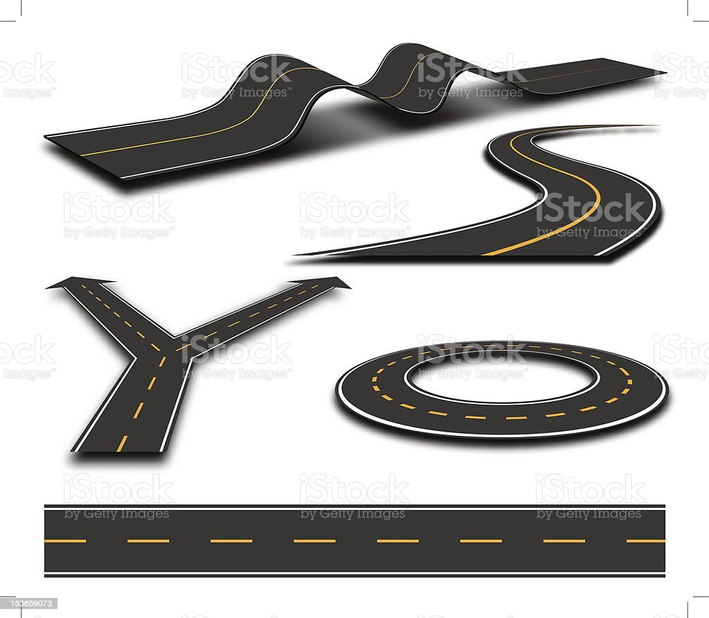 Road Elements vector art illustration