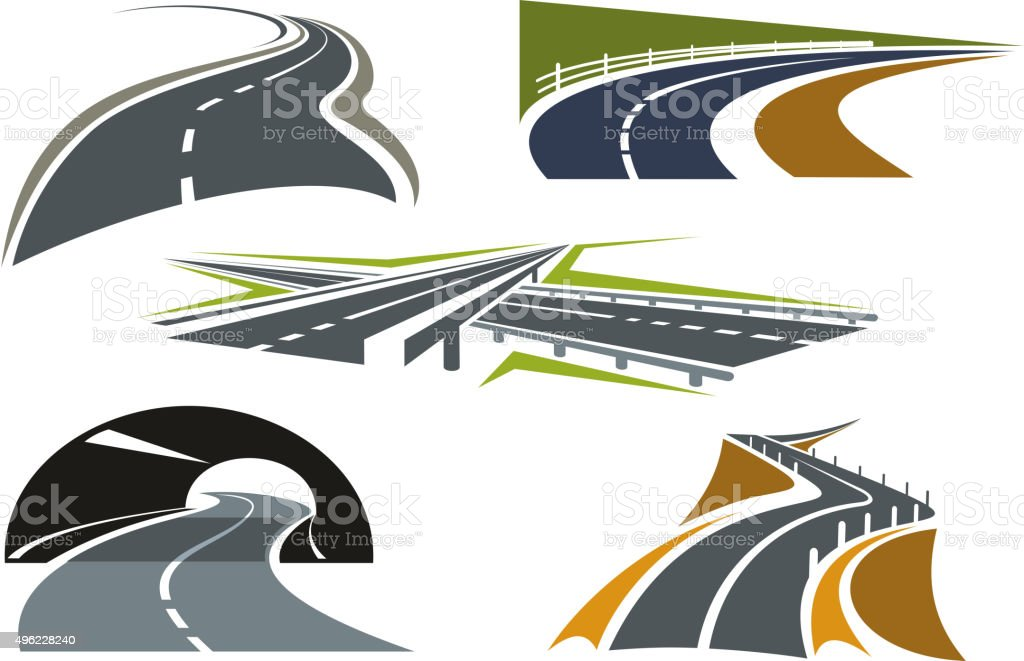 Road, freeway and highway icons set vector art illustration
