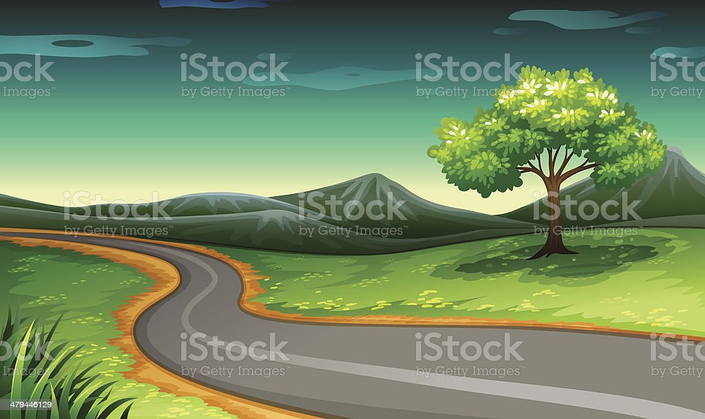 Road going to the mountain royalty-free stock vector art