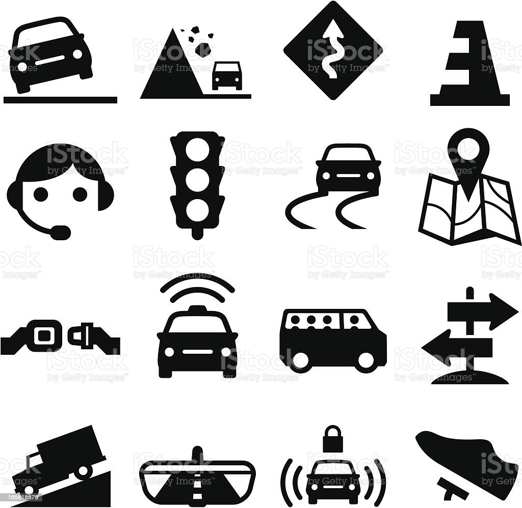 Road Icons - Black Series vector art illustration