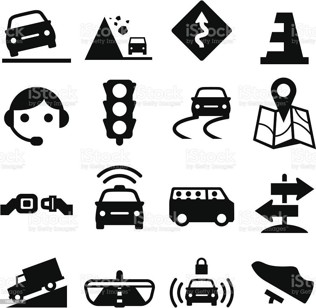 Road Icons - Black Series vector art illustration